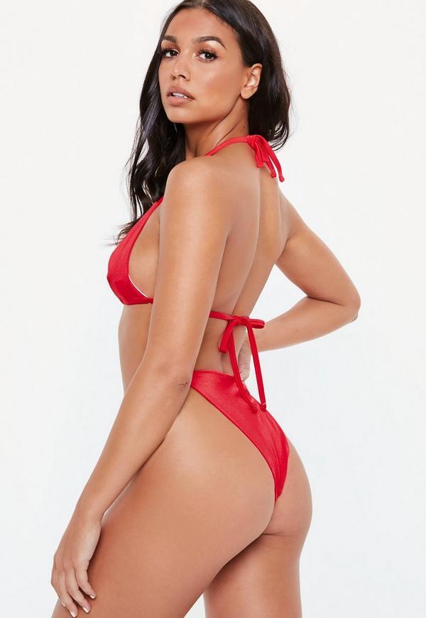 ca1e6cb79497c Red Ring Front Triangle Bikini Top. Previous Next
