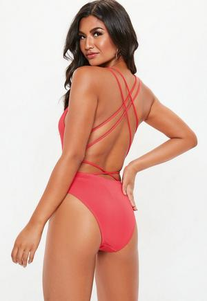 99860e5b68 £15.00. red plunge front cross back swimsuit