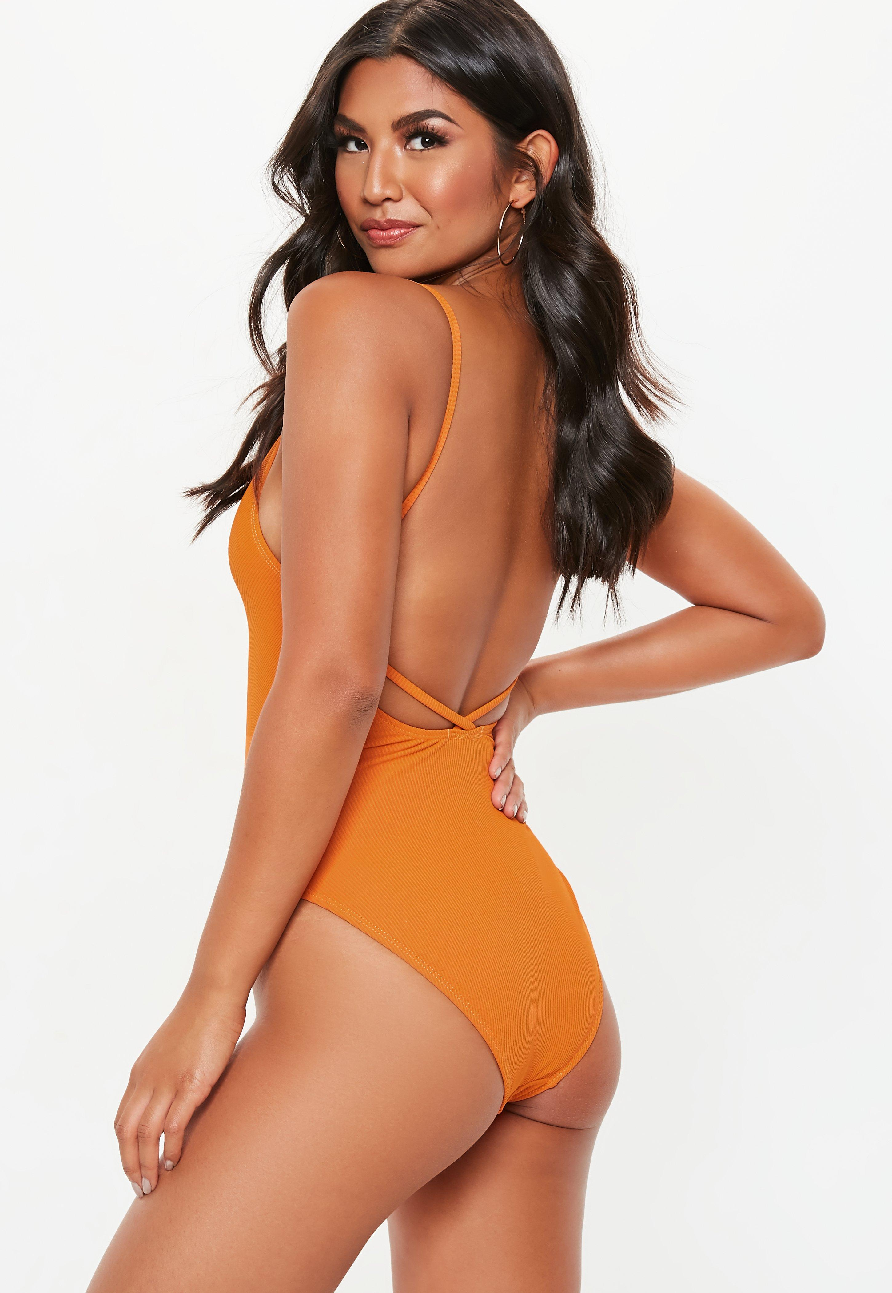 2f1f2d4749c32 Orange Ribbed Strappy Plunge Front Swimsuit | Missguided