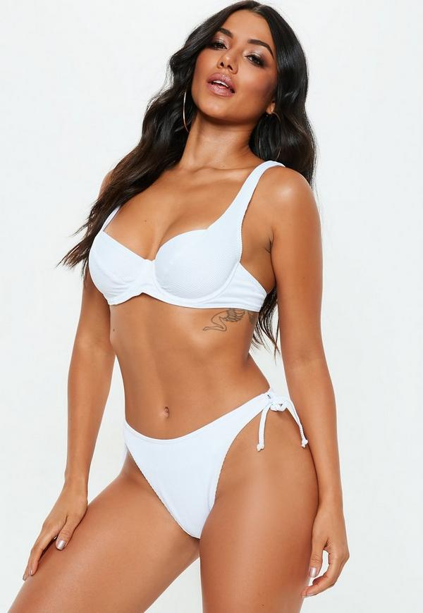 White Ribbed Underwired Tie Back Bikini Top by Missguided
