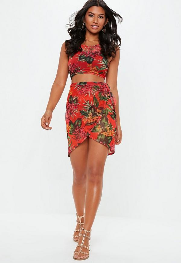 a87fc6bc84bd Red Floral High Neck Cropped Cover Up. Previous Next