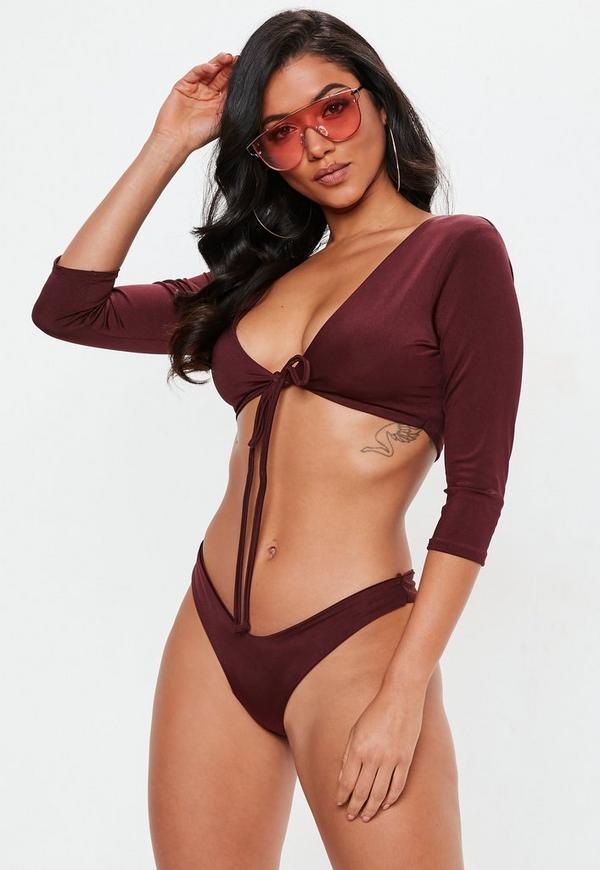 0d03872097 Burgundy Tie Front Long Sleeve Bikini Top