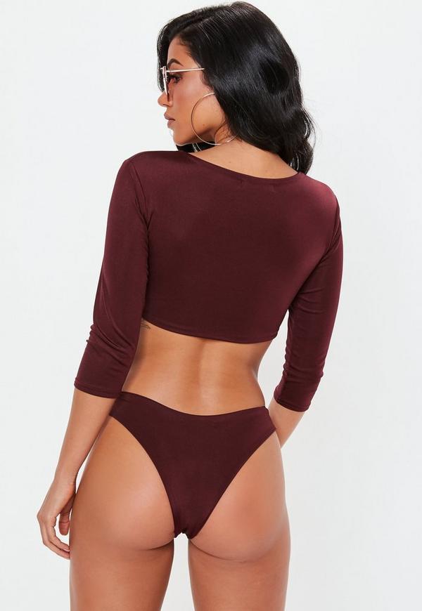 ee59b84f0b Burgundy Tie Front Long Sleeve Bikini Top. Previous Next