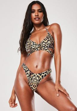 f7a6677521e75 Brown Leopard Print High Waisted Thong Bikini Bottoms · Brown Leopard Print  Mix & Match Cross Front Bikini Top