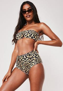 6784f856be ... High Waisted Bikini Bottoms; Brown Leopard Print Mix And Match Bandeau  Bikini Top