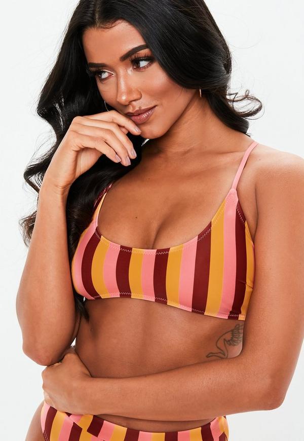 bd15df1e39206 ... Orange Stripe Mix and Match Sporty Cross Back Bikini Top. Previous Next