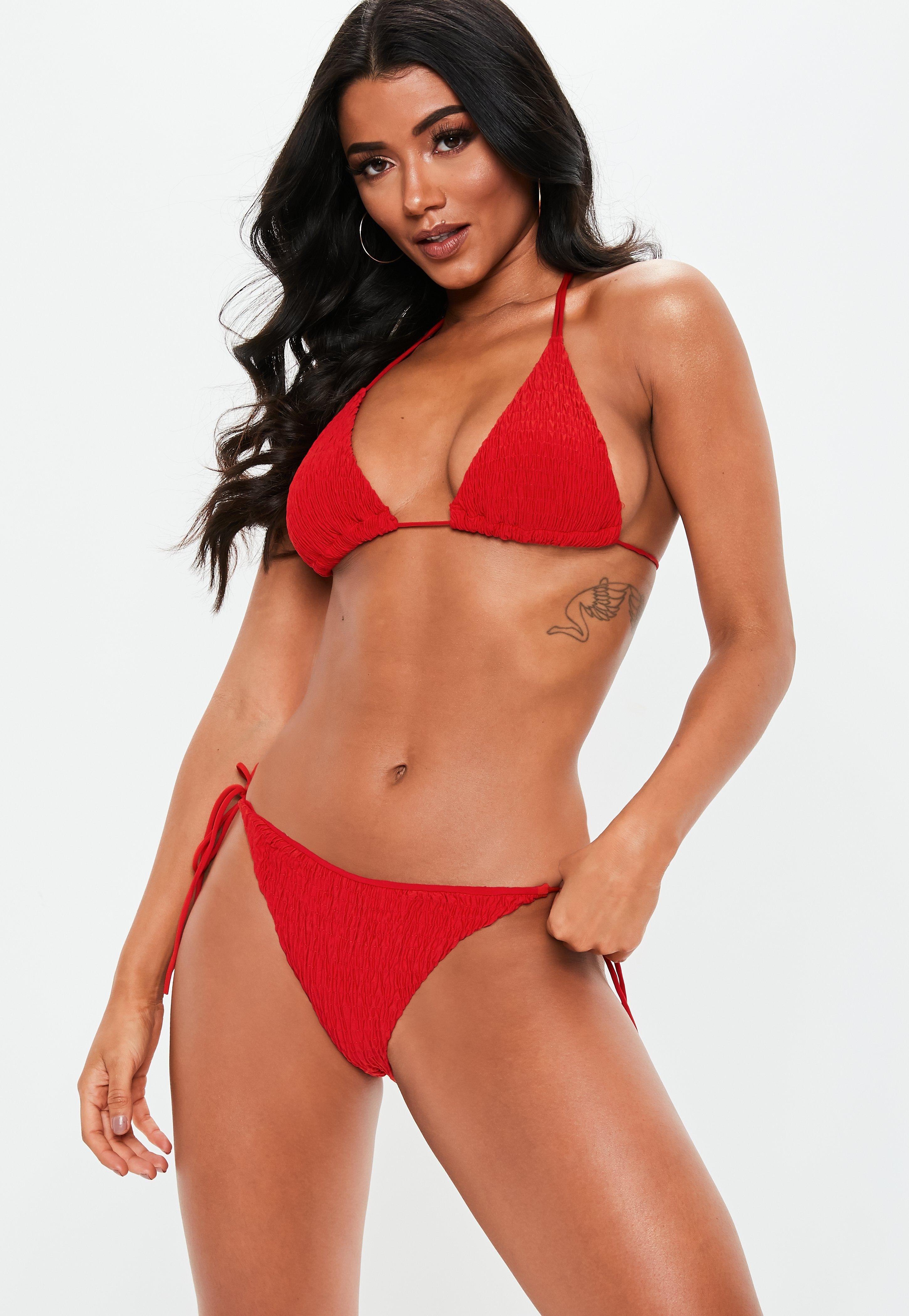 info for 08914 a1ec1 Red Crinkle Mix and Match Triangle Bikini Top
