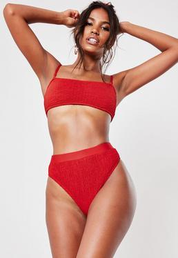 5d7b287176e Red Crinkle Mix And Match High Waisted High Leg Bikini Bottoms