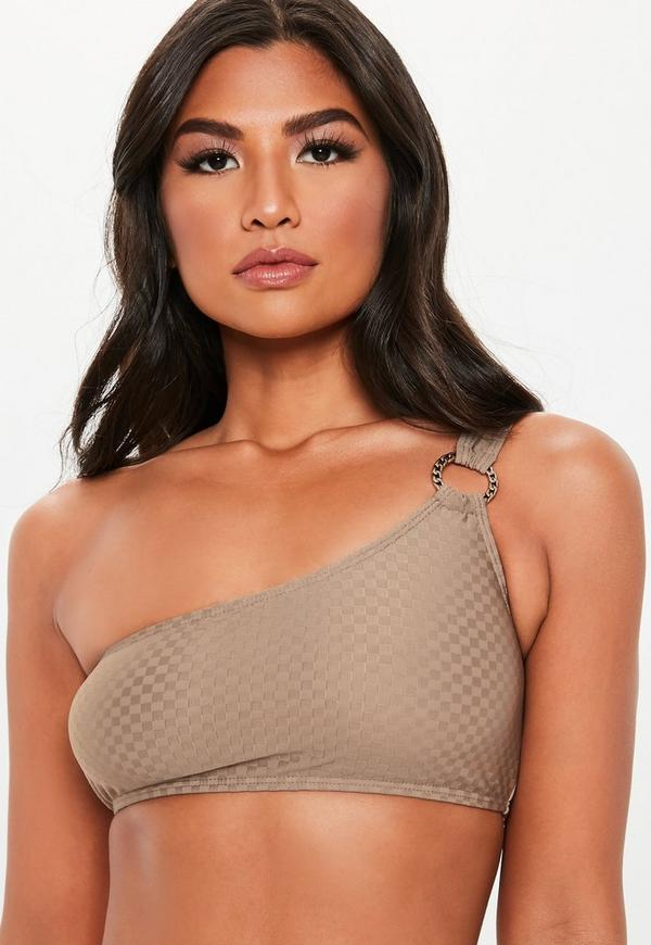 071a54f5117617 ... Brown Textured Ring One Shoulder Bikini Top. Previous Next