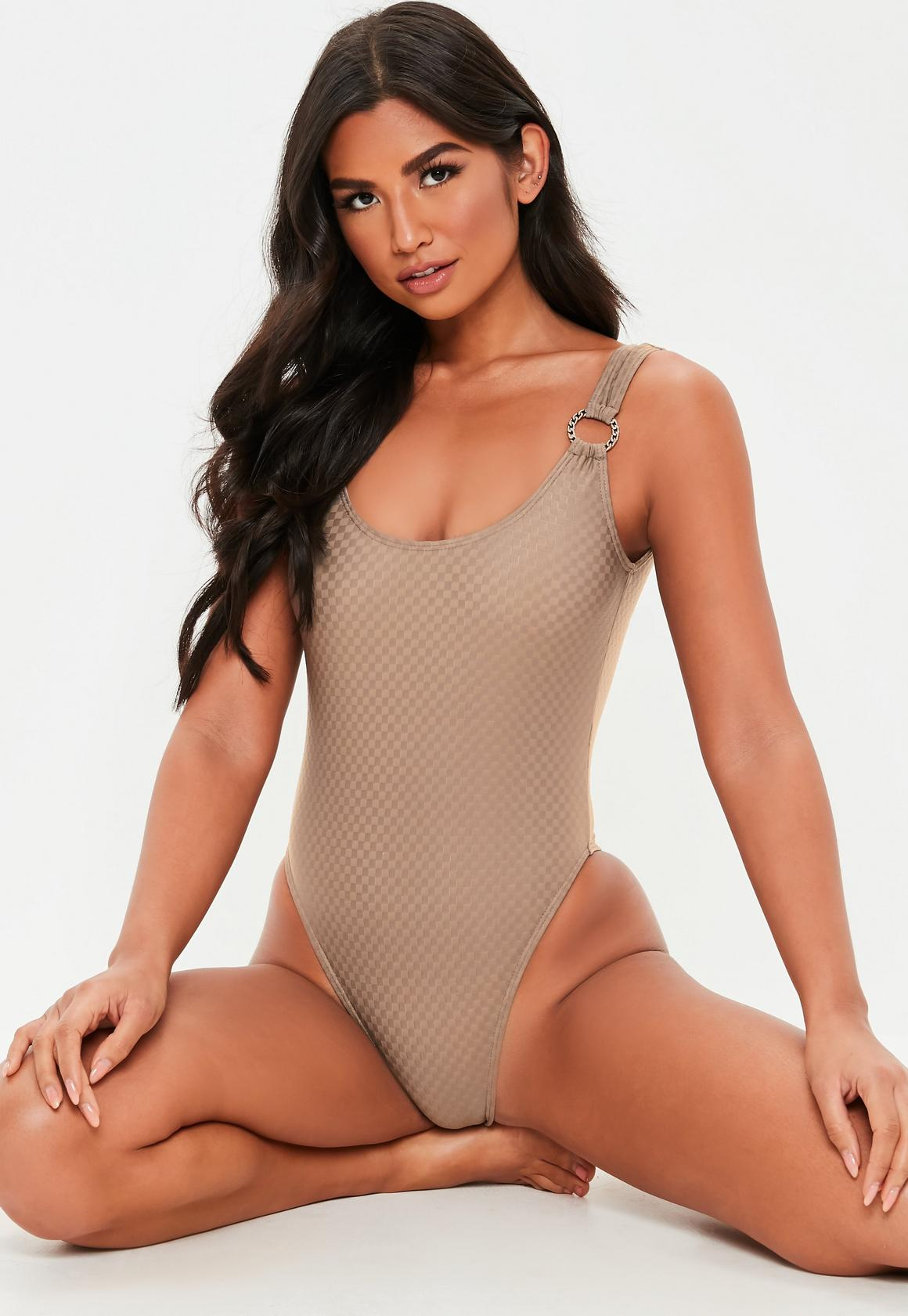 f287a026f5 Brown Textured Ring High Leg Swimsuit