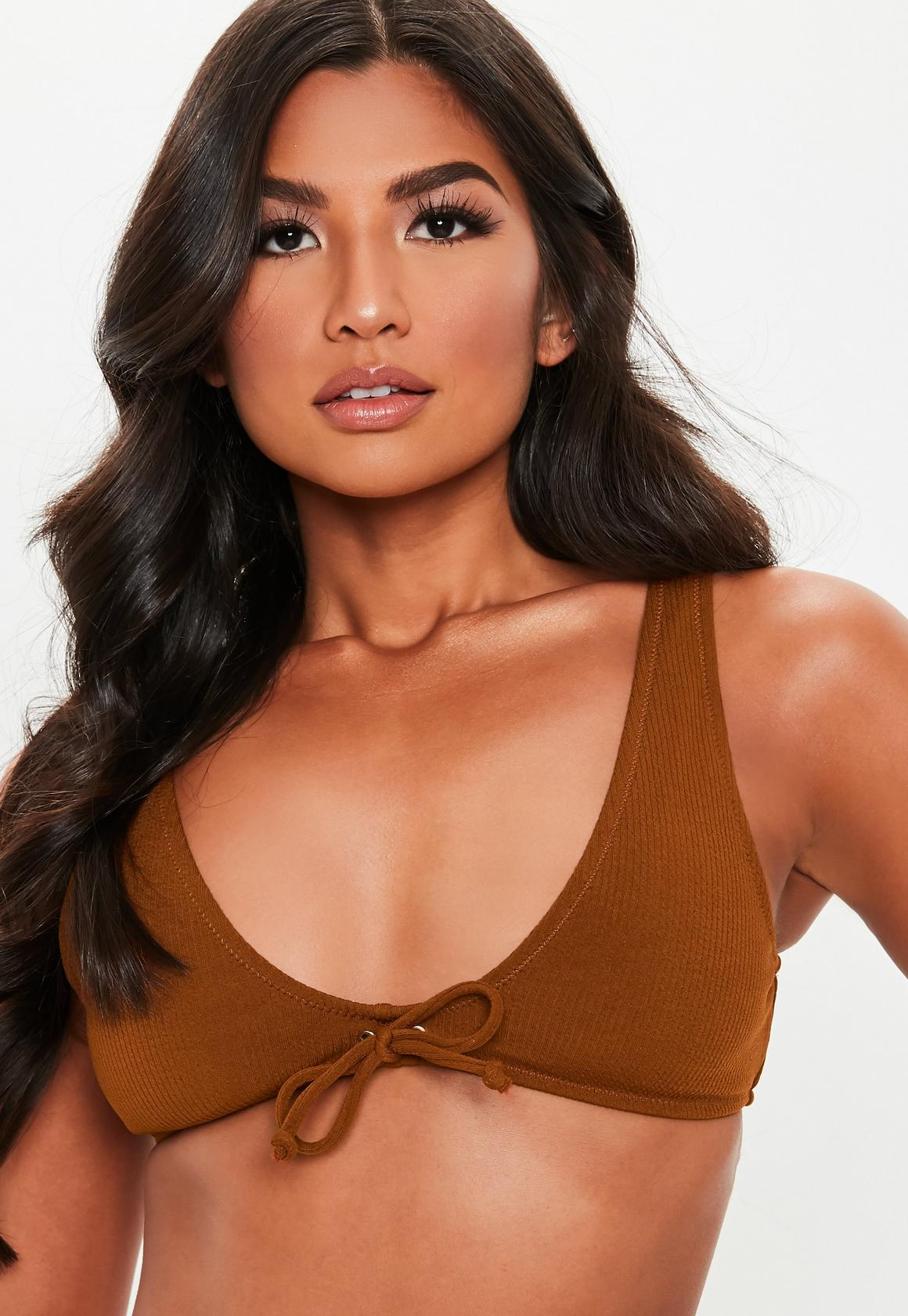 83dadf39292 Missguided Rib Tie Front Extreme Scoop Bikini Top at £12