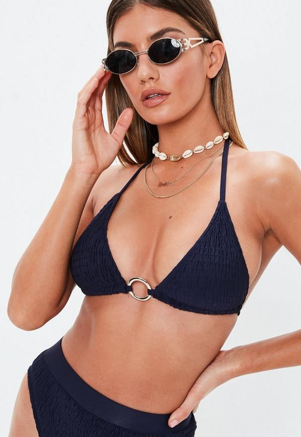 Navy Crinkle Triangle Ring Front Bikini Top by Missguided
