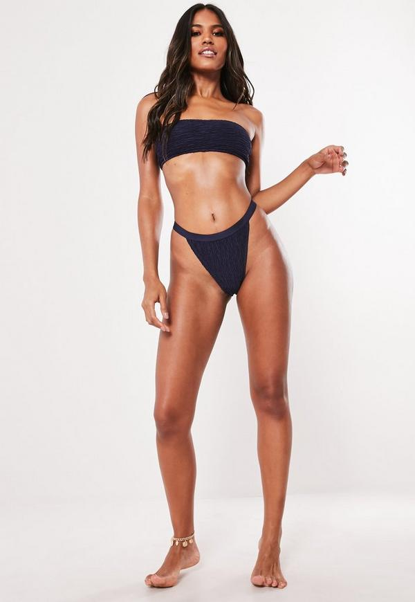 3d1ba30b39bb5 ... Navy Crinkle Mix And Match High Leg Tanga Bikini Bottoms. Previous Next