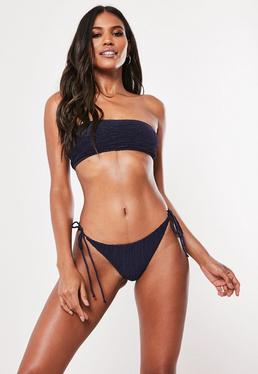 2676fff9b5ba5 Blue Mix and Match Rib High Waist Bikini Briefs  Navy Crinkle Mix And Match  Tie Side Minimal Bikini Bottoms