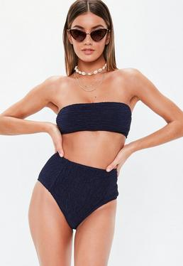 b9bfcfb03387c Blue Mix And Match Rib Scoop Neck Bikini Top · Navy Mix And Match Crinkle  High Waisted Bikini Bottoms