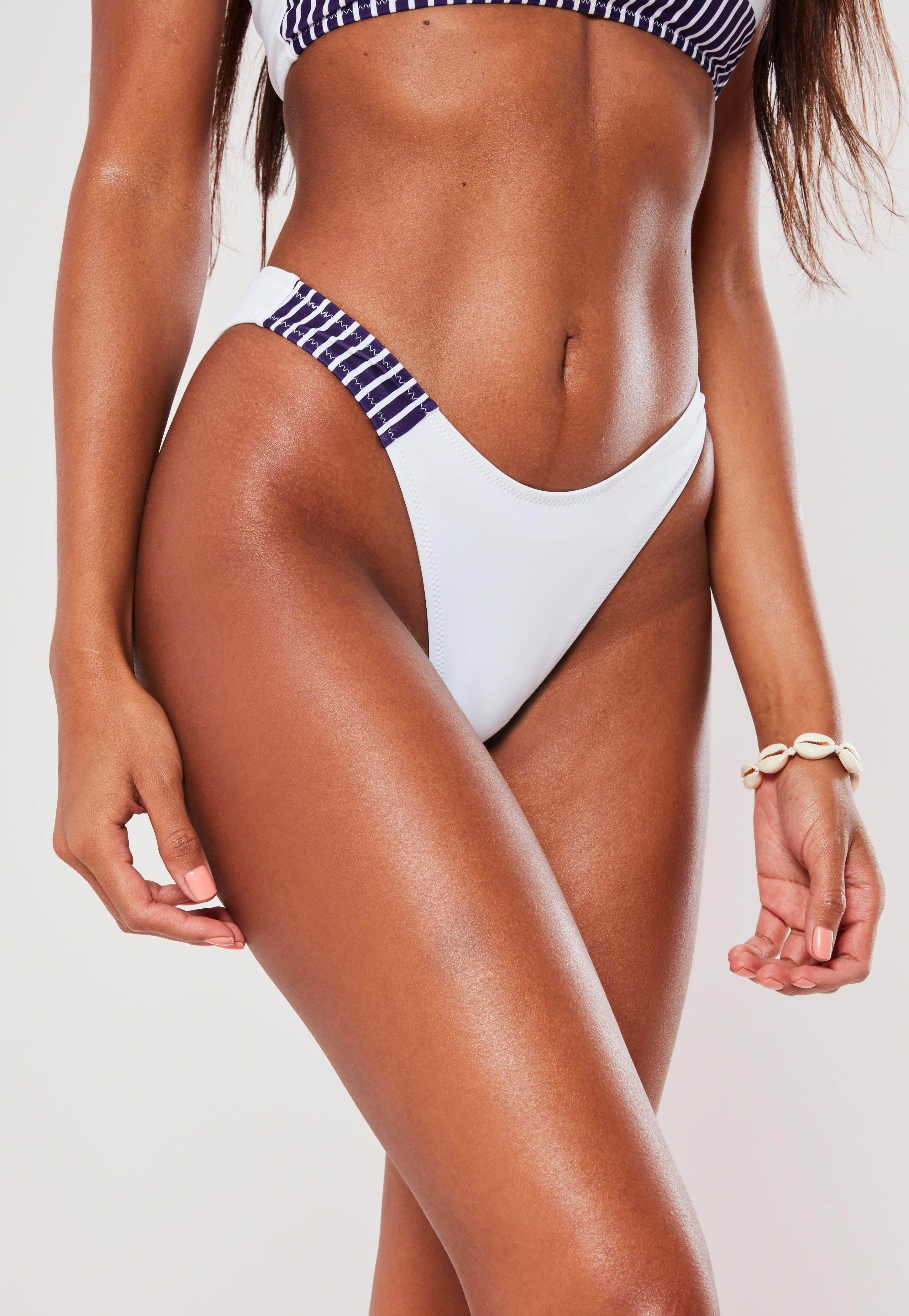 cab3f1d318518 White Stripe High Leg Boomerang Bikini Bottoms | Missguided