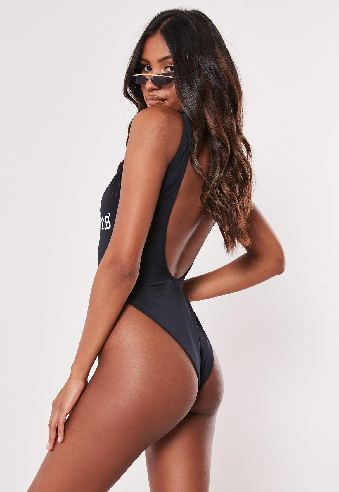 3621ac9eb9c Missguided Scoop High Leg Slogan Swimsuit at £15 | love the brands