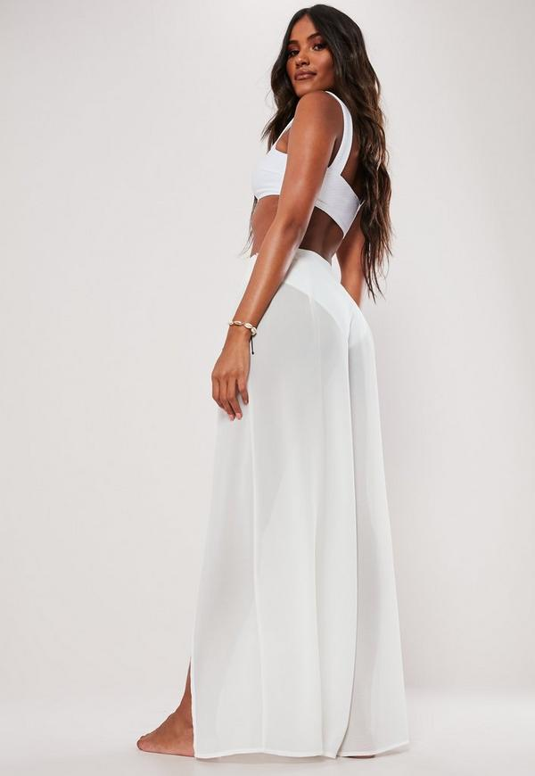 47ea590056 White Wide Leg Split Beach Trouser | Missguided