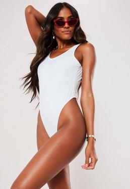 b777a992efc White Square Back High Leg Thong Swimsuit