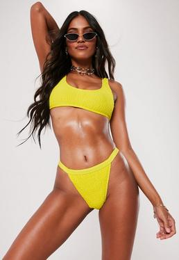 c3b44dbafaedb Black Rib Extreme Cross Back High Leg Swimsuit  Yellow Crinkle Mix And  Match High Leg Tanga Bikini Bottoms