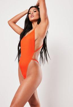 a33678e1270a9 Neon Orange Rib Cross Back Plunge High Leg Swimsuit
