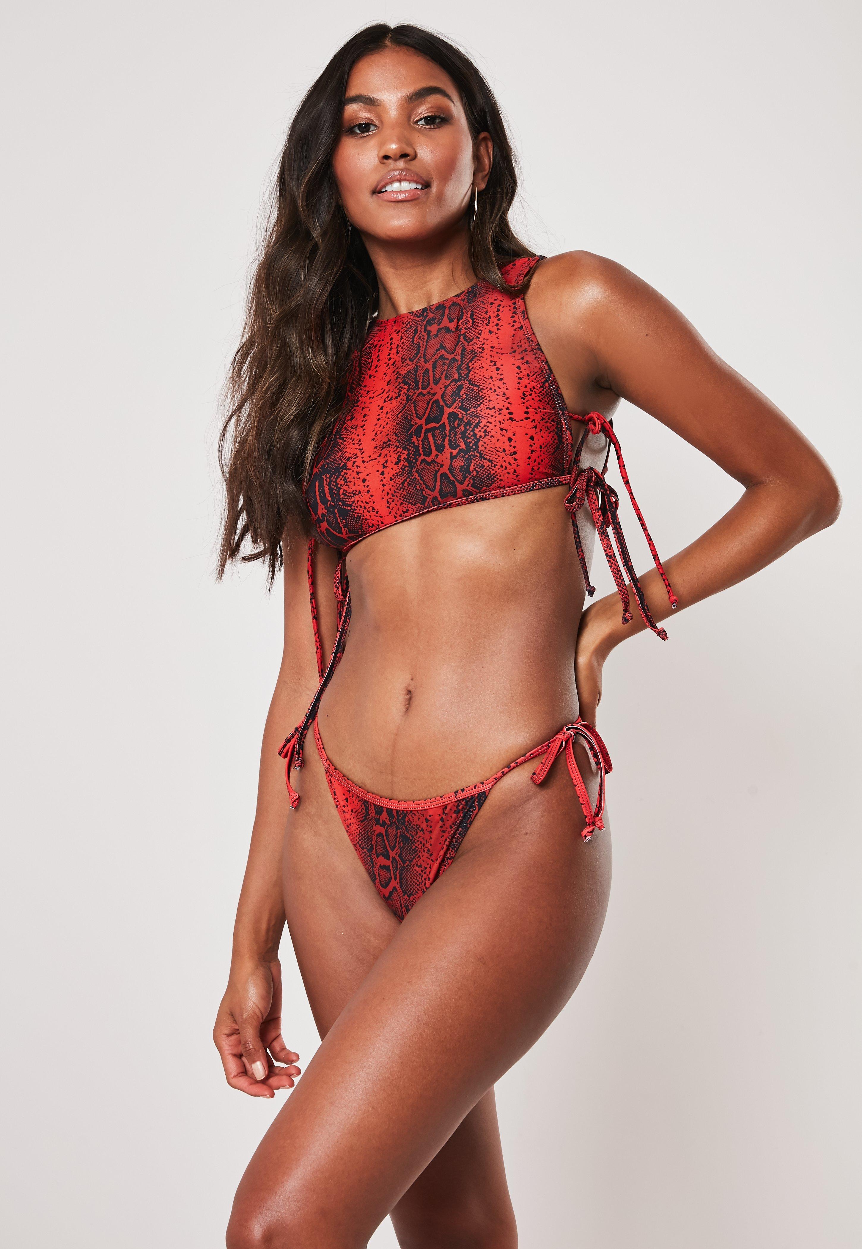 39053cad7b1 Red Animal Print High Neck Tie Side Crop Bikini Top   Missguided