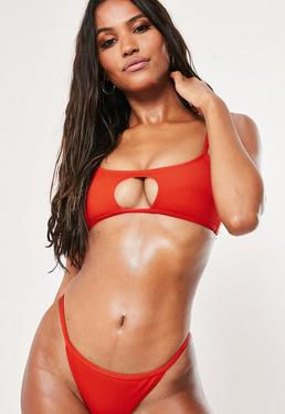 20946a23d56 Red Rib Key Hole Strappy Bandeau Bikini Top