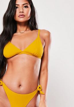 5dc5430109 Black Tie Back Minimal Triangle Bikini Top  Mustard Tie Back Triangle  Bikini Top