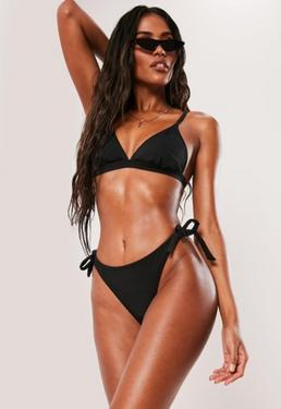 f2c210176d5fc ... Black Tie Back Minimal Triangle Bikini Top