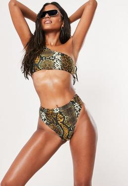 8225895b01dc5 Brown Animal Print Mix And Match One Shoulder Bikini Top