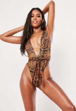 b0a00b7317 ... Brown Animal Print Tie Waist Plunge Swimsuit