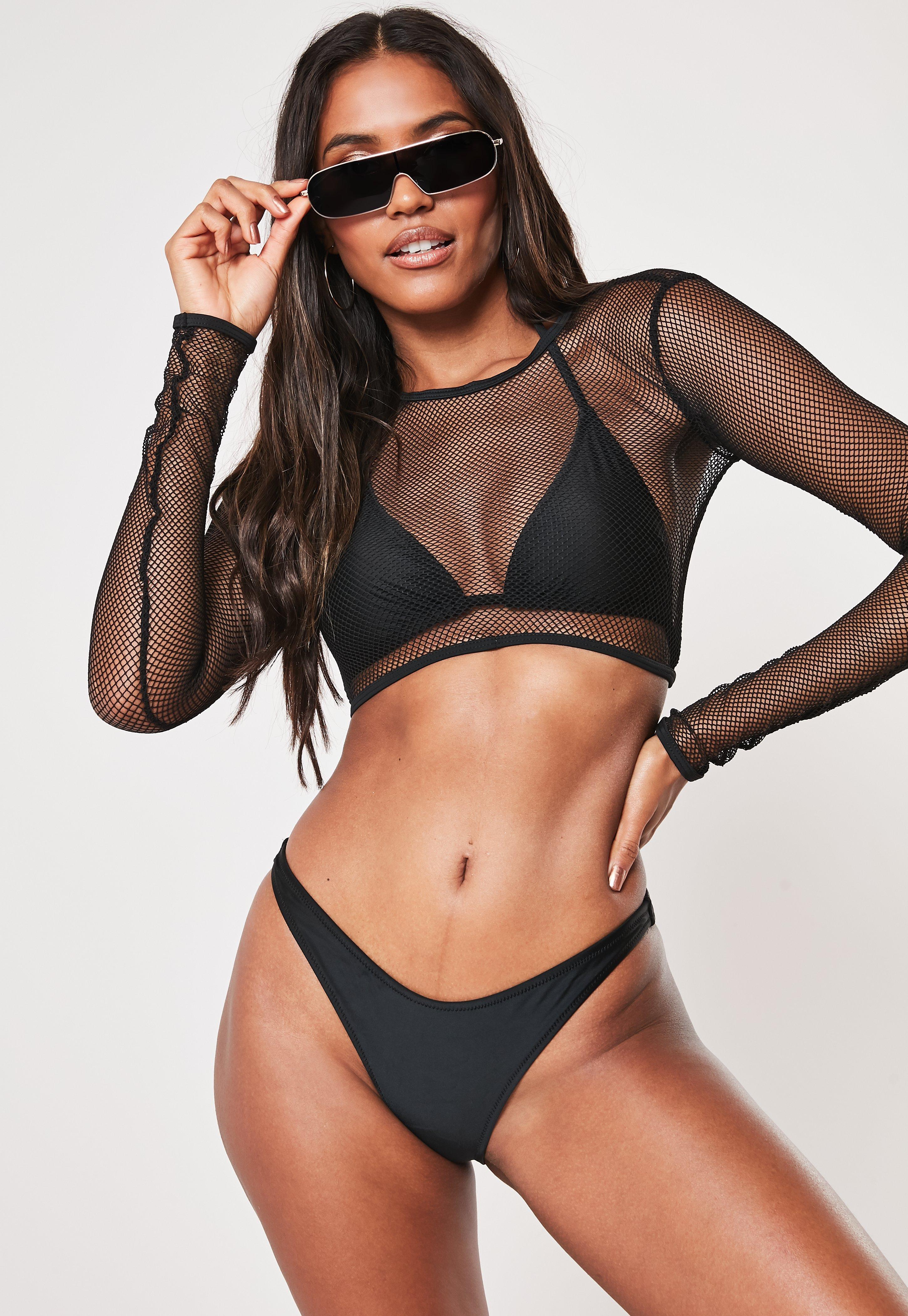 a17d1d9de15 Black Mesh 3 Piece Bikini Set