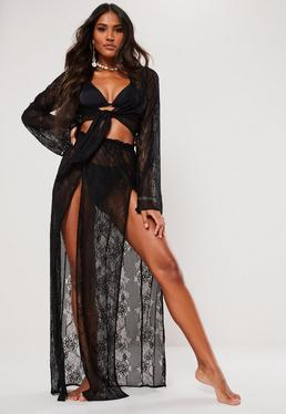 d1304f455f8 Black Mesh Side Split Maxi Skirt · Black Lace Maxi Skirt
