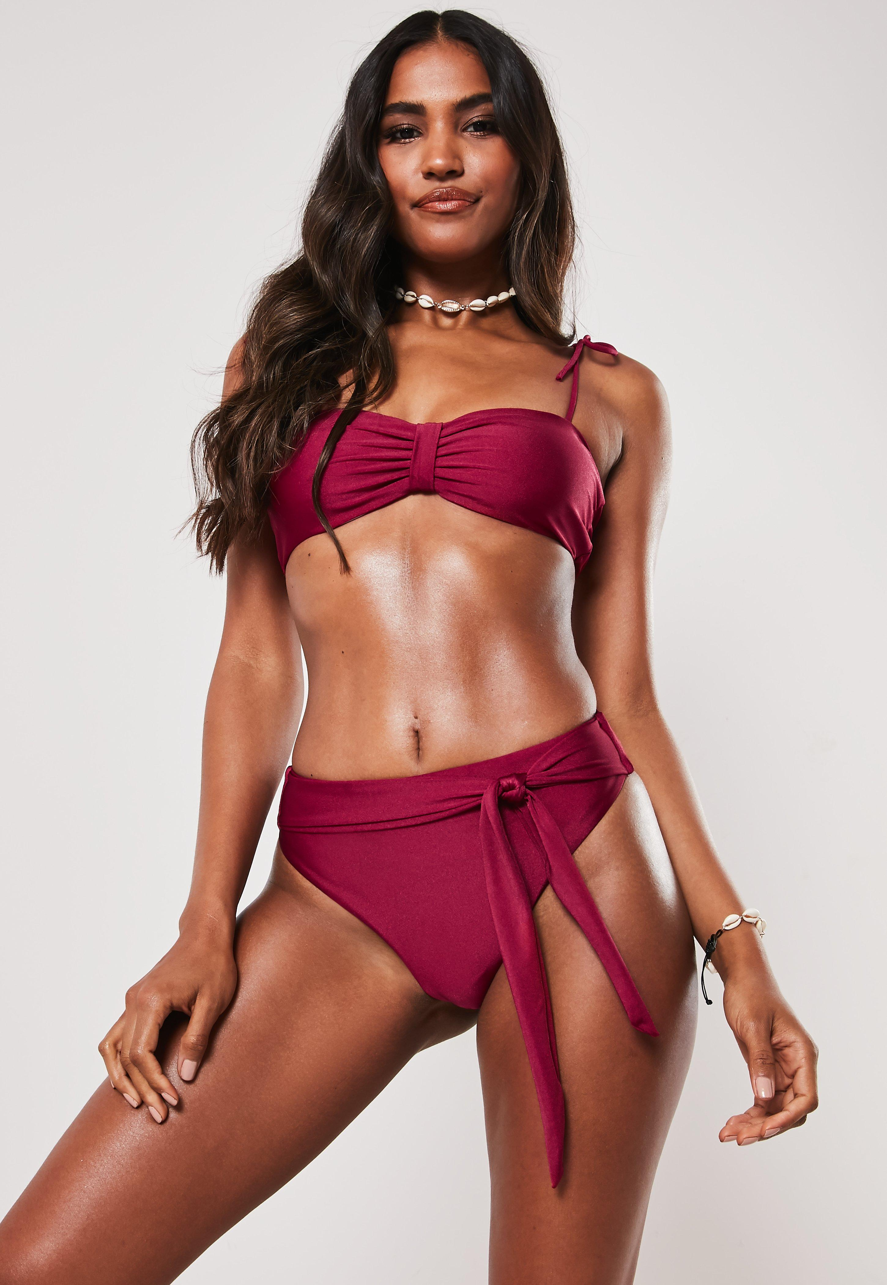 7c47f7e1e5a Burgundy Tie Front High Leg Bikini Bottoms