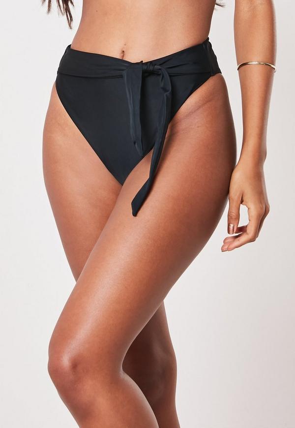bd744b8817d7b Black Mix And Match High Waisted Thong Bikini Bottoms   Missguided ...
