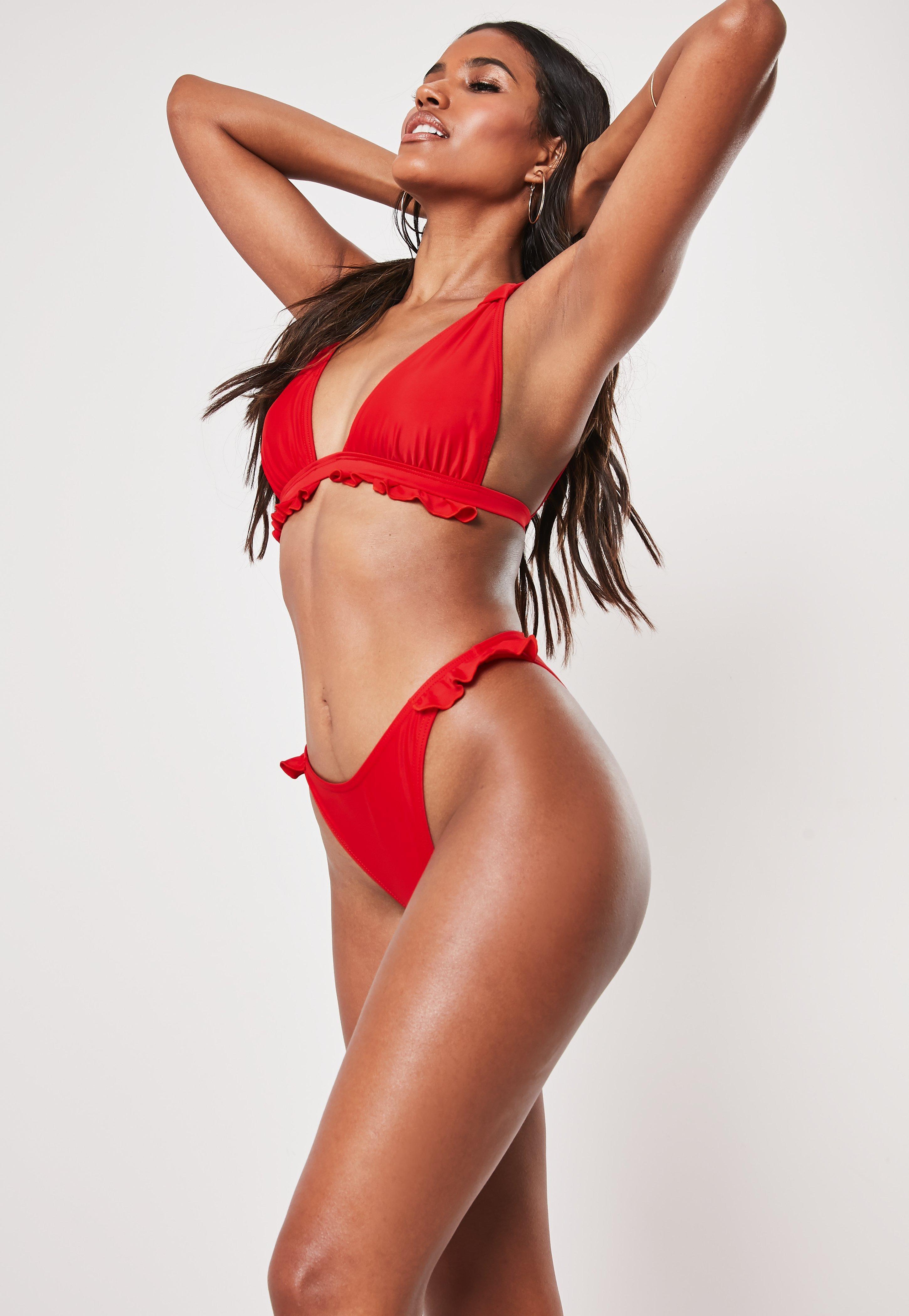 Red Frill Hem Triangle Bikini Top by Missguided
