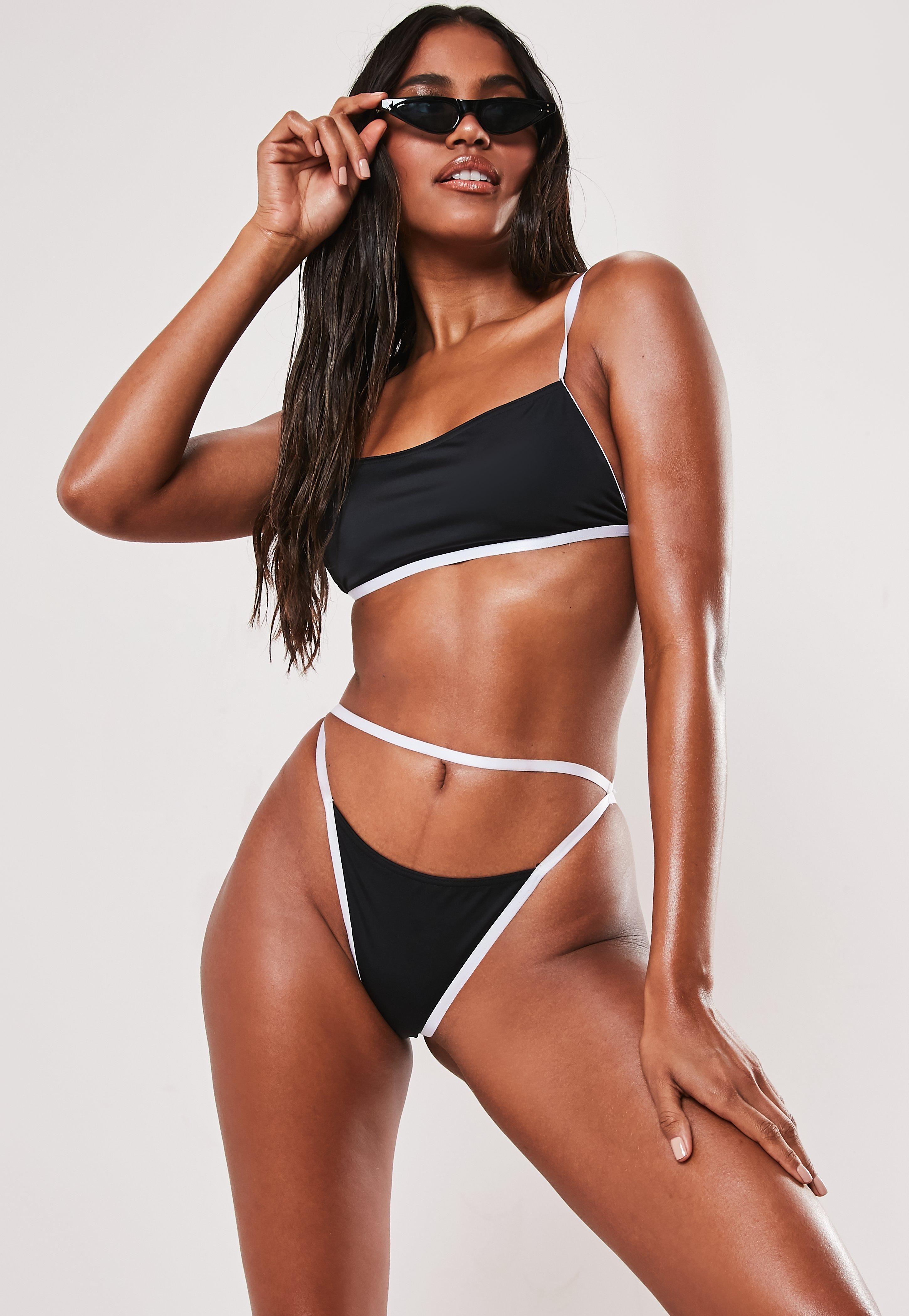 Black Contrast Trim Elastic Sporty Bikini Top by Missguided