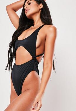 1dcd1ded35 White Rib Extreme Cross Back High Leg Swimsuit · Black Scoop High Leg Cut  Out Swimsuit