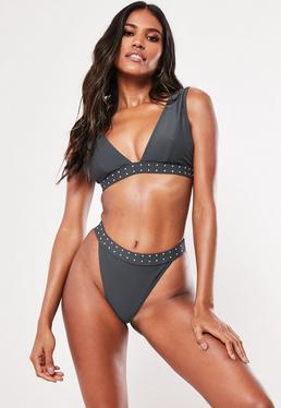 f85c4c2e9a564 Braguita bikini de pernera alta con tiro alto ribete de brillantes en gris