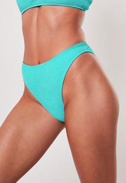 3554dca3f Blue Crinkle High Leg Boomerang Bikini Bottoms