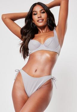f0ff509d902 ... Silver Rib Mix And Match Tie Back Underwired U Bikini Top