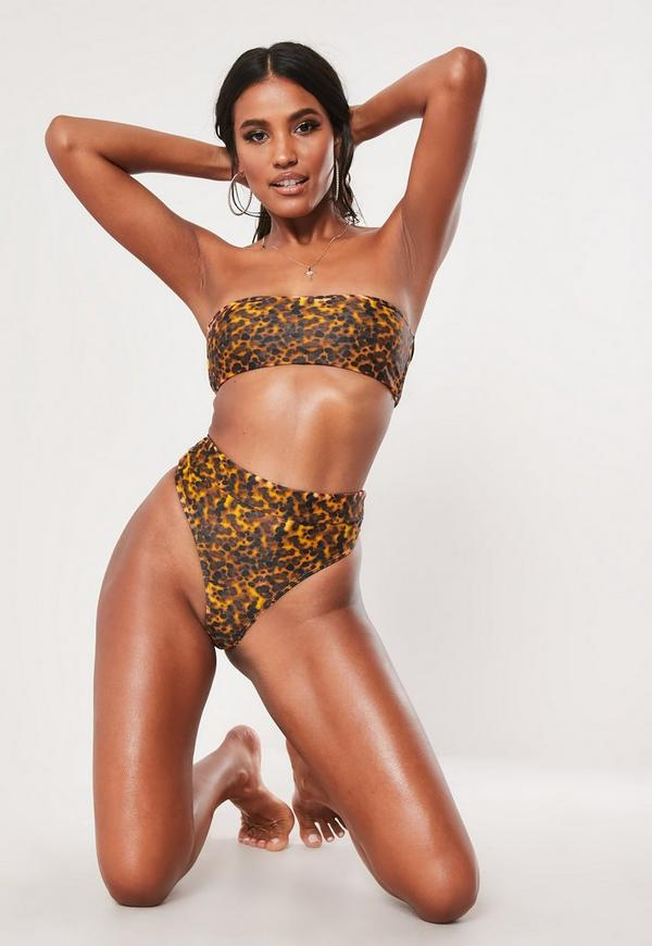Brown Tortoise Shell Mix And Match High Waisted High Leg Thong Bikini Bottoms by Missguided