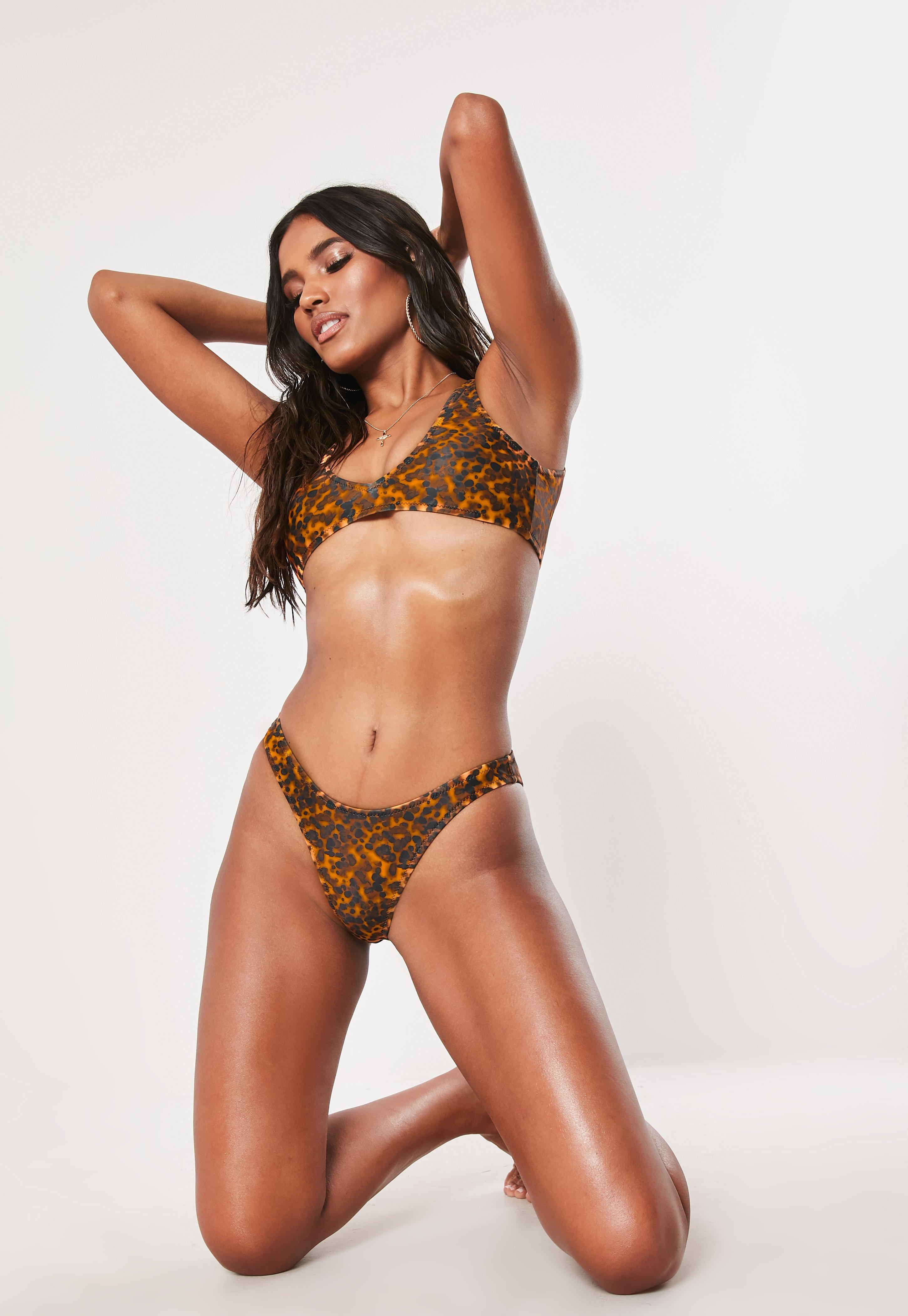 Brown Tortoise Shell Mix And Match High Leg Boomerang Bikini Bottoms by Missguided