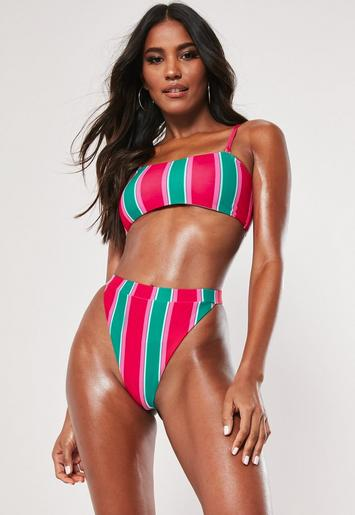 pink-contrast-stripe-strappy-bandeau-bikini-top by missguided