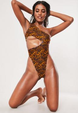 4679d5588 Brown Tortoise Shell One Shoulder High Leg Cut Out Swimsuit