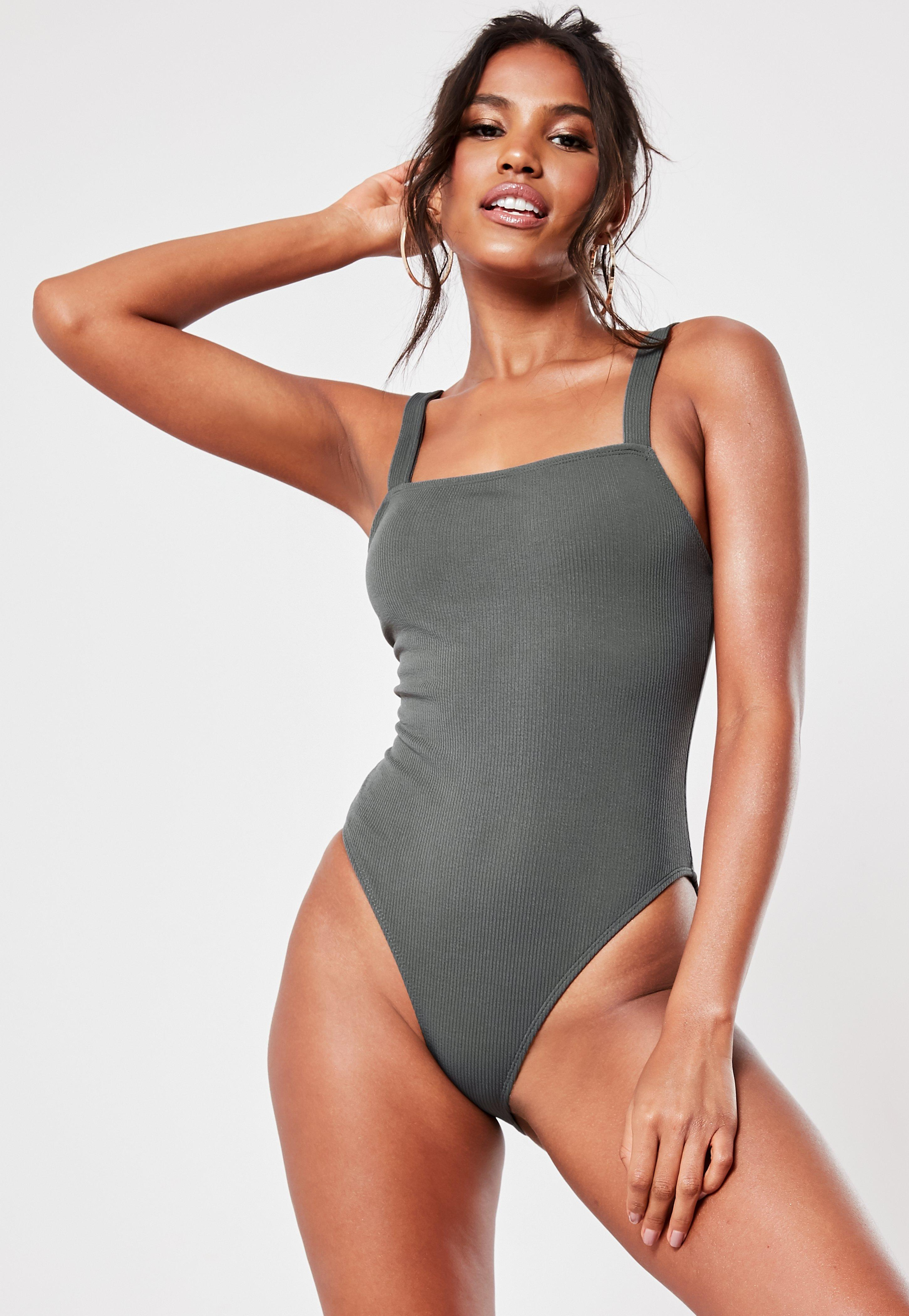 f4ec5515ca Grey Rib Square Neck High Leg Swimsuit | Missguided