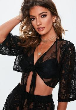 818b0cebfab ... Premium Black Lace Co Ord Beach Top