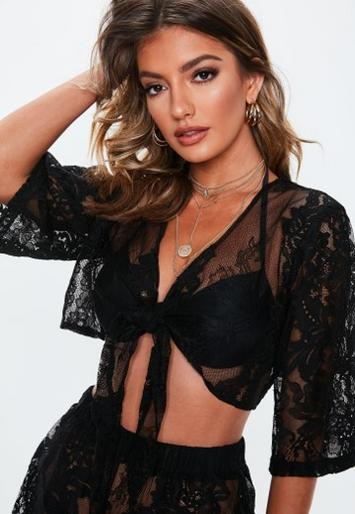 Premium Black Lace Co Ord Beach Top by Missguided