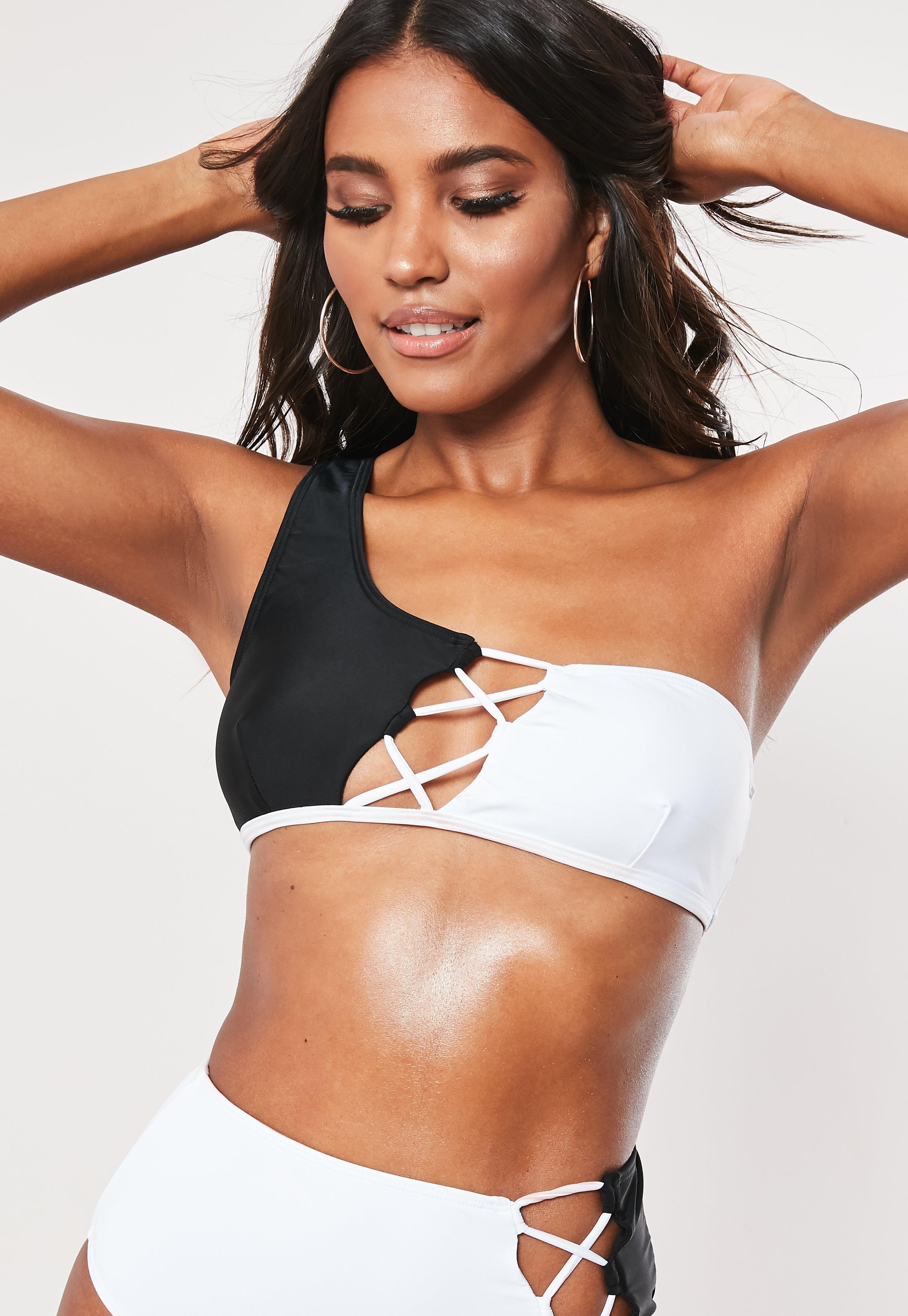 027e5d5b04b9 White Lace Up Spliced One Shoulder Bikini Top   Missguided