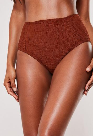 Rust Crinkle High Waisted High Leg Bikini Bottoms by Missguided